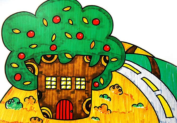 树房子_儿童画彩笔画图片