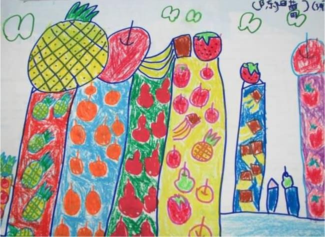 水果楼房 儿童画彩笔画图片
