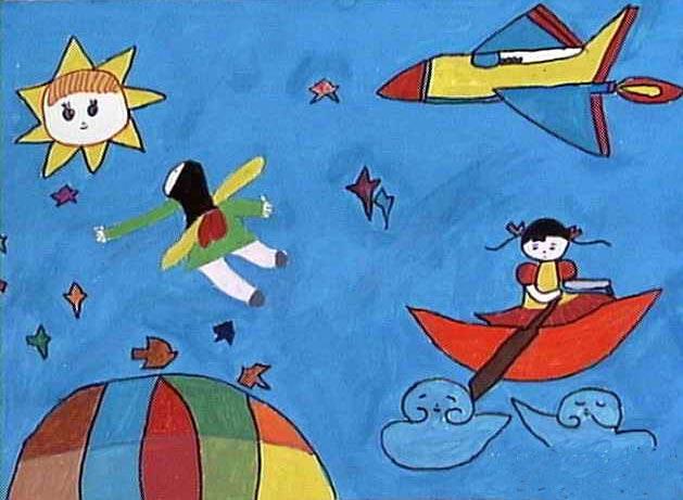 太空梦 儿童画彩笔画图片3图片