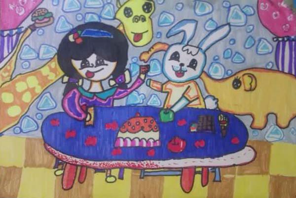 兔子的晚餐_儿童画彩笔画图片