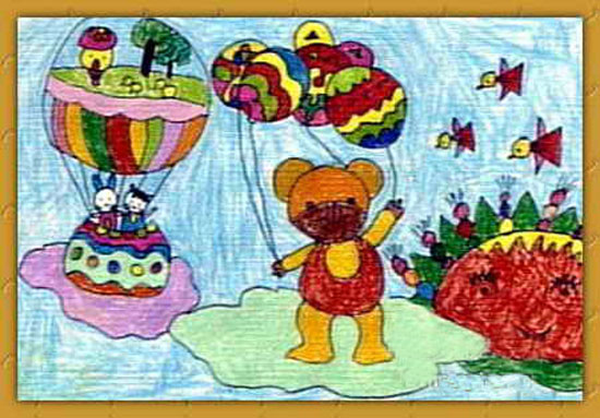 小熊放风筝 儿童画蜡笔画图片