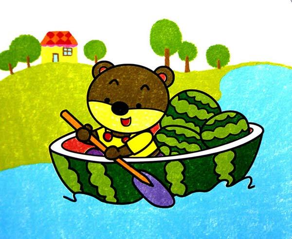 小熊划西瓜船 儿童画蜡笔画图片
