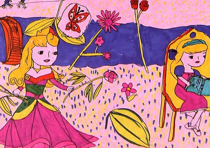 小公主摘花 儿童画彩笔画图片