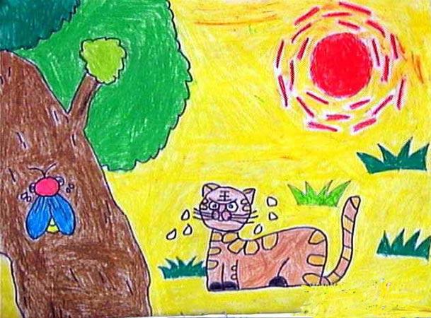 炎热的夏天 儿童画蜡笔画图片