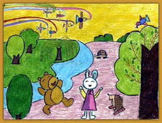 自然风光 儿童蜡笔画作品
