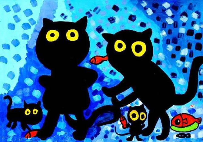 小黑猫_儿童画彩笔画图片