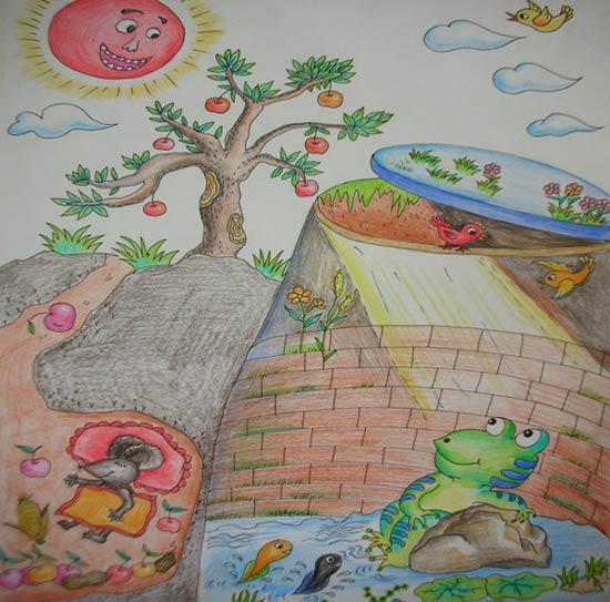 美好 儿童画彩笔画图片
