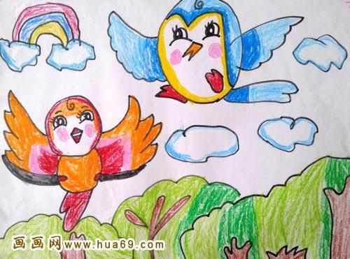 可爱的小鸟 儿童蜡笔画作品