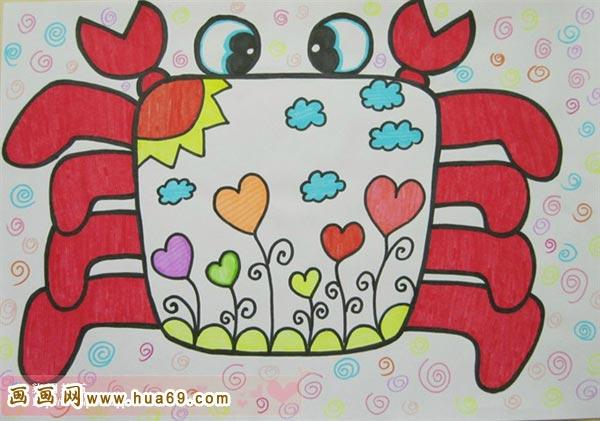 穿花衣的螃蟹 幼儿彩笔画作品