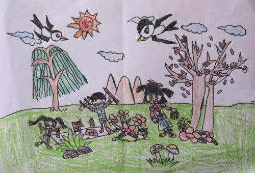 小燕子 儿童彩笔画作品