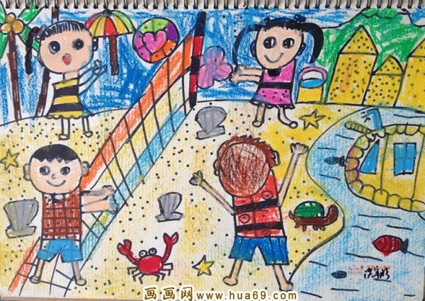 沙滩排球比赛 儿童蜡笔画作品