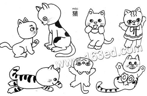 动物简笔画:猫4