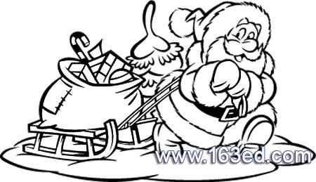 圣诞铃铛黑白简笔画,圣诞雪花图片简笔画,圣诞鹿拉车简笔画