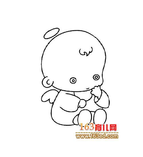 可爱的天使 简笔画 3