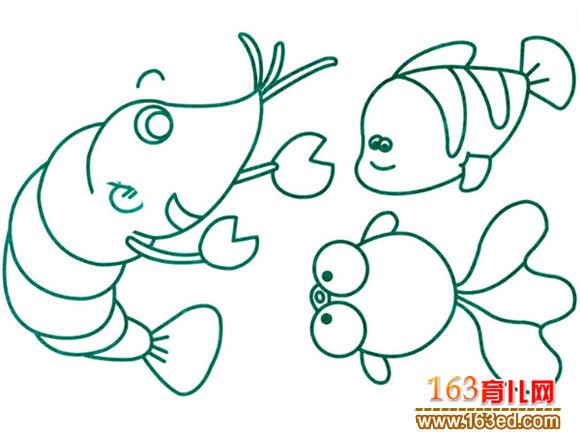 水生动物简笔画 鱼和虾