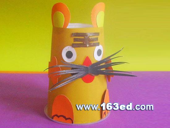 幼儿手工制作:纸杯老虎8—儿童手工制作网
