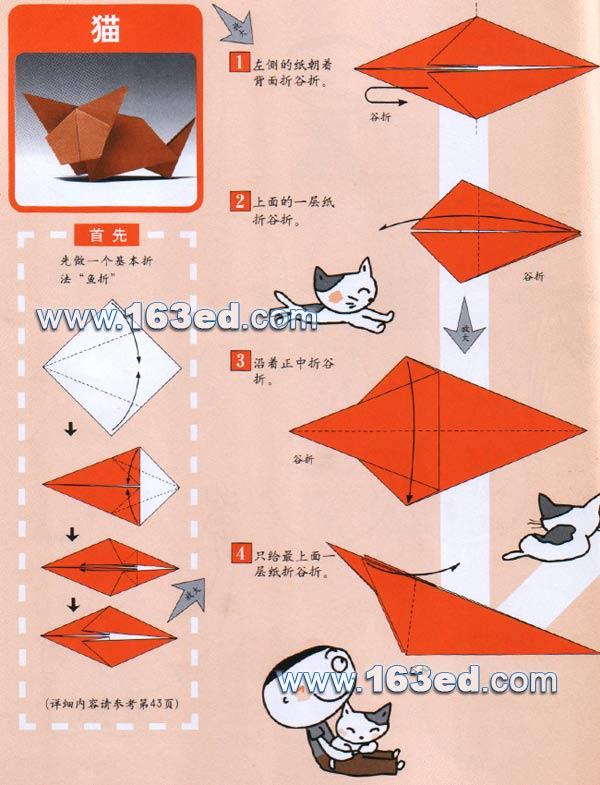 幼儿手工折纸图解:猫