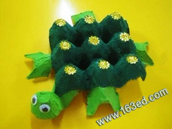 废旧物品手工制作:蛋托乌龟