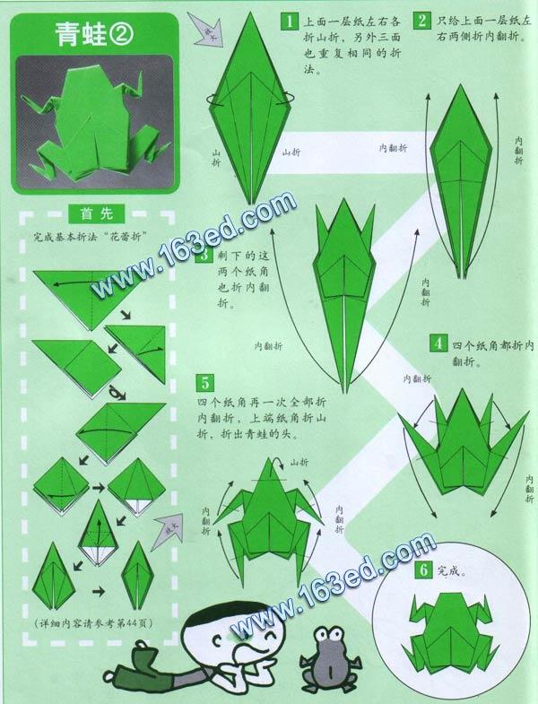 幼儿手工折纸图解:青蛙2
