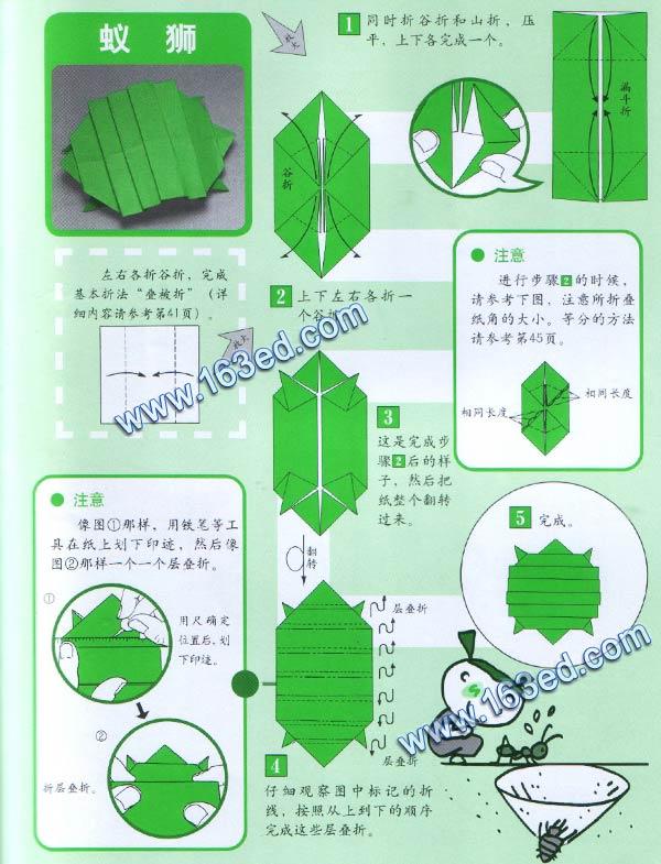 幼儿手工折纸图解:蚁狮