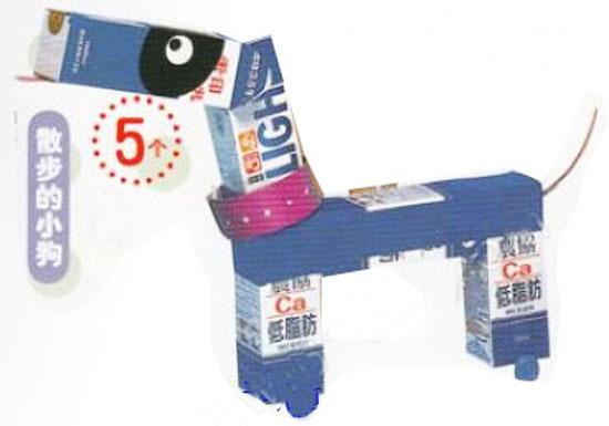 废旧物品手工制作:纸盒小狗—儿童手工制作网