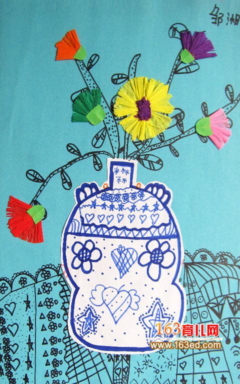幼儿卡纸手工制作:漂亮的花瓶1