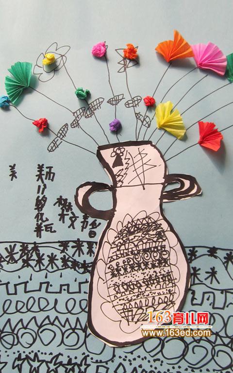 幼儿卡纸手工制作:漂亮的花瓶2