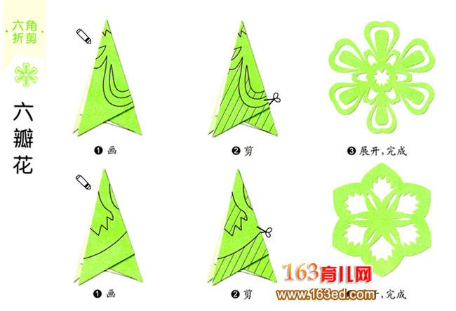 幼儿剪纸 六瓣花图案2
