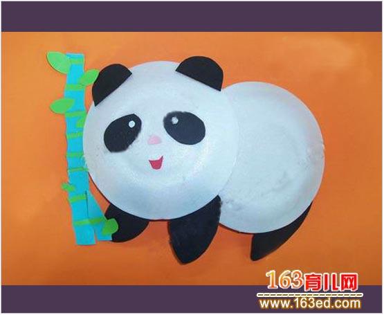幼儿变废为宝手工 纸盘大熊猫 高清图片