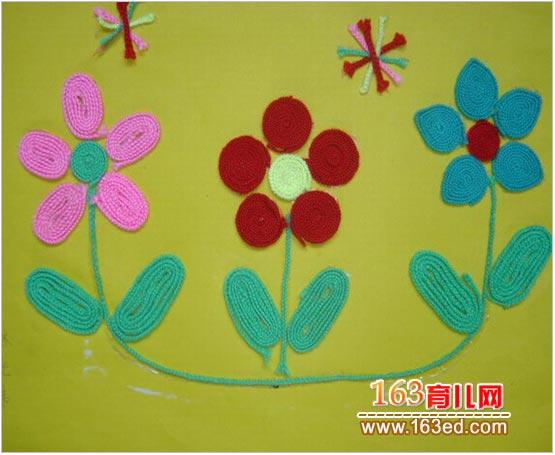 幼儿废旧物品手工:漂亮的毛线画—儿童手工制作网