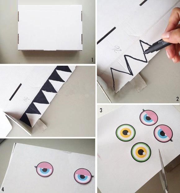 幼儿小手工:废旧纸盒工制作大嘴怪收纳盒