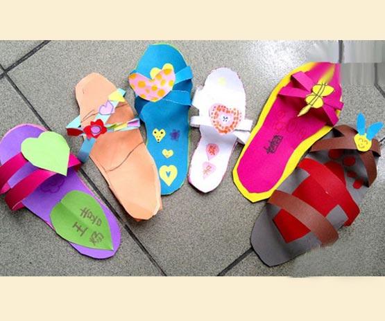 纸做的拖鞋 幼儿废旧物品手工制作