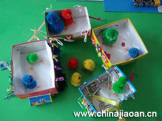 幼儿手工制作:纸盒装运车图片