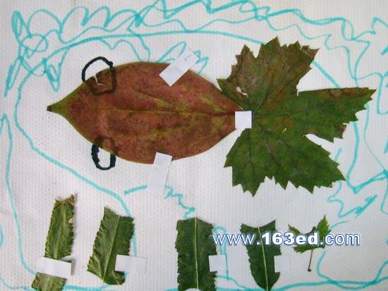 树叶粘贴画游鱼篇 金鱼2