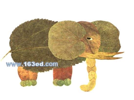 树叶粘贴画动物篇 大象