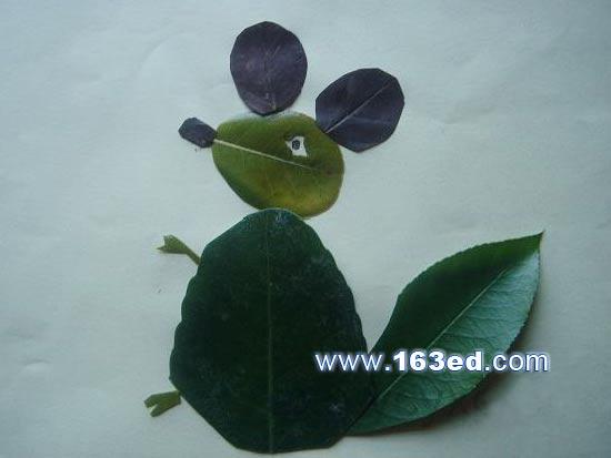 树叶粘贴画动物篇:老鼠1—树叶贴画