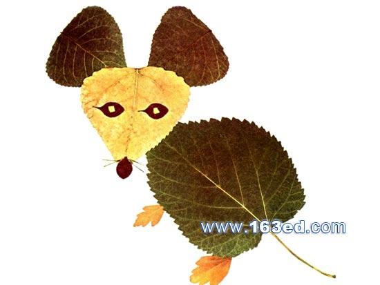 树叶粘贴画动物篇 老鼠2