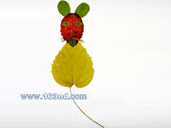 树叶粘贴画动物篇 老鼠3