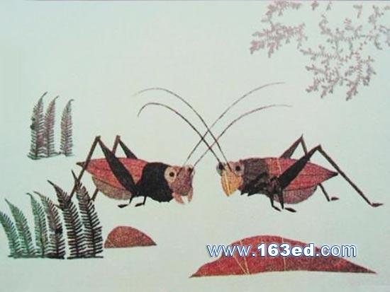 树叶粘贴画风景篇 蟋蟀之秋