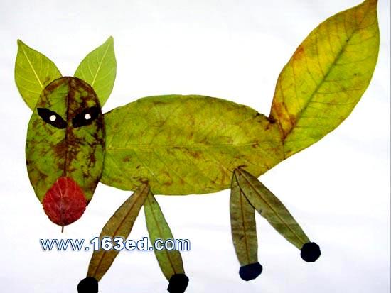 树叶贴画动物图片大全内容|树叶贴画动物图片大全版面设计