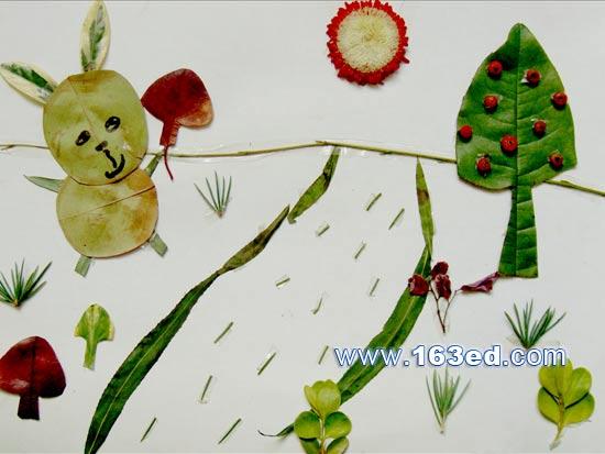 树叶粘贴画动物篇 兔子
