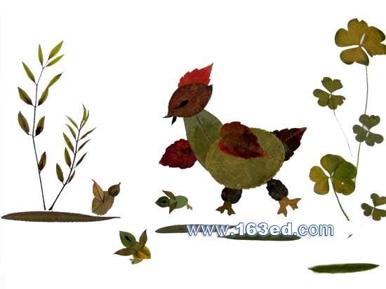 树叶粘贴画飞鸟篇 小鸡一家