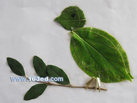 树叶粘贴画飞鸟篇:小鸟6—树叶贴画