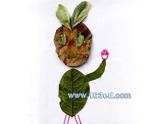 树叶粘贴画人物篇 小孩1