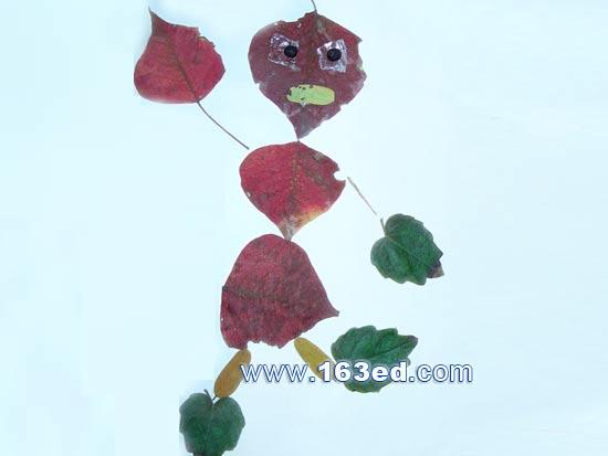 树叶粘贴画人物篇 小孩2