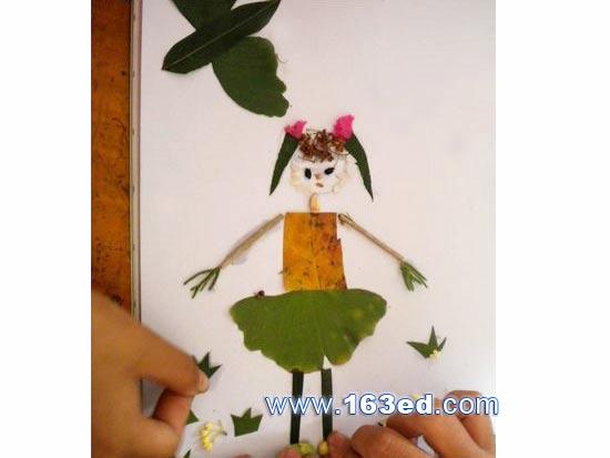 树叶粘贴画人物篇 小女孩2