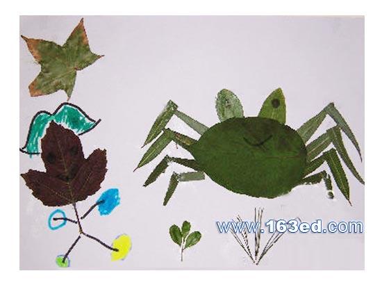 树叶粘贴画游鱼篇 螃蟹3