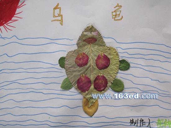 树叶粘贴画游鱼篇 乌龟5