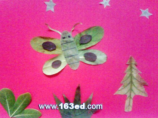 树叶粘贴画昆虫篇 蝴蝶5