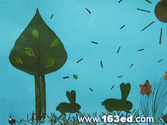 树叶粘贴画风景篇 兔子的春天